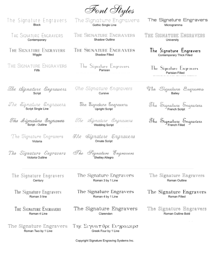 Our font list for engraving